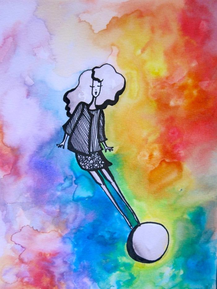 Floating Rainbow Girl